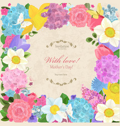 romantic invitation card with different spring vector image