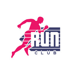 run club logo emblem with abstract running man vector image