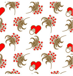 Russian folk berry traditional seamless pattern vector