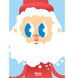 Santa Claus face close-up Greeting card for vector