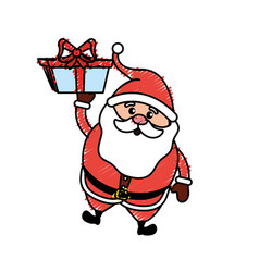 santa claus with suit christmas and present gift vector image