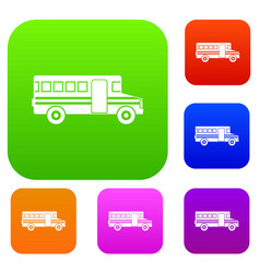School bus set collection vector