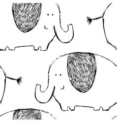 Seamless childish pattern with cute elephants vector