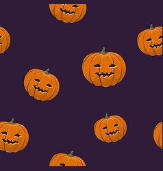 seamless pattern of carved halloween pumpkin vector image