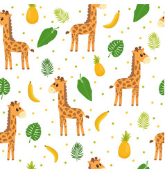 Seamless pattern with cute cartoon little giraffe vector