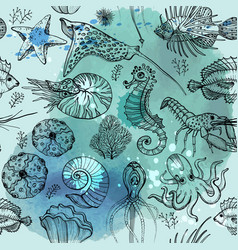 seamless pattern with watercolor deepwater living vector image