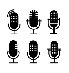 Set of black and white radio icon studio table vector