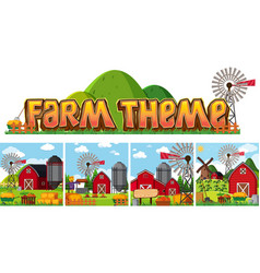 set of farm theme vector image