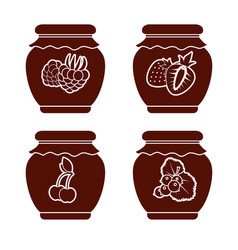 set of monochrome icons of berry jam on a white vector image