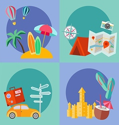 Set of summer flat icon vector image