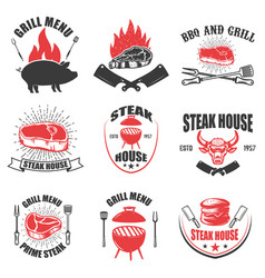 Set steak house emblems bbq and grill vector