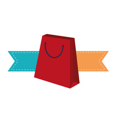 shopping bag with ribbon banners vector image