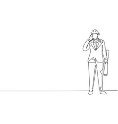 Single one line drawing architect stood with call vector