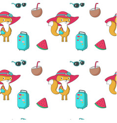 summer seamless pattern with funny fox vector image