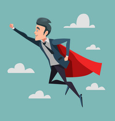 Super businessman in red cape flying to success vector