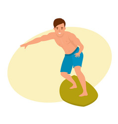 surfer with surfboard standing riding on ocean vector image