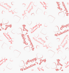 text happy valentine s day with hearts seamless vector image