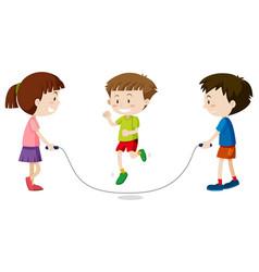 three kids jumping rope vector image