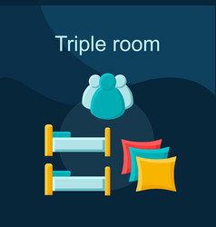 triple room flat concept icon vector image