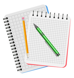two notebooks green pen and yellow pencil vector image