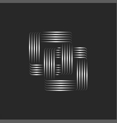 two squares logo linked rectangular chain vector image