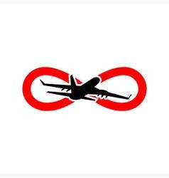 Vacation Travel Plane logo icon Infinity vector