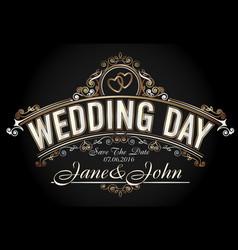 vintage style wedding invitation template vector image