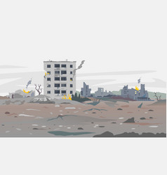 War destroyed city landscape background vector