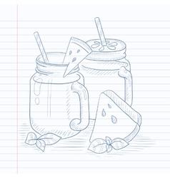 Watermelon smoothie in mason jar vector image