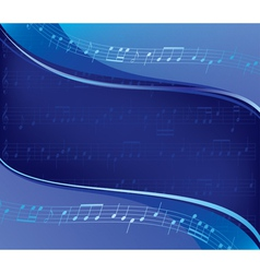 Wavy blue background - musical design vector