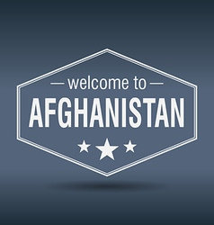 Welcome to Afghanistan hexagonal white vintage vector