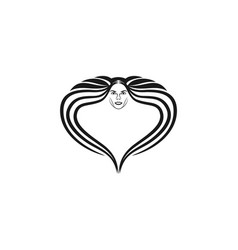 Woman face and hair made love luxury logo designs vector