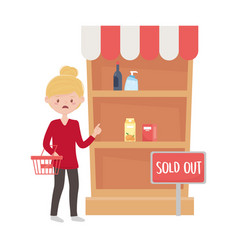 Woman shopping with basket and shelf design vector