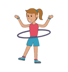 woman with hula hoop cartoon vector image