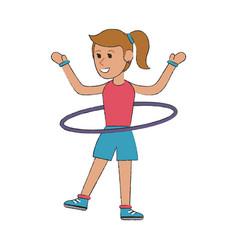 Woman with hula hoop cartoon vector