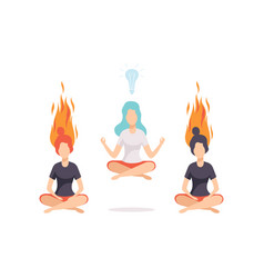 Women meditating and relaxing in lotus position vector