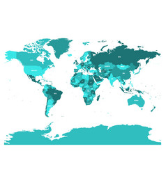 World map in four shades of turquoise blue on vector