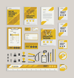 Yellow geometric corporate identity design vector