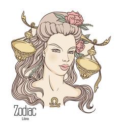 Zodiac libra as girl vector