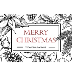 Merry Christmas hand drawn vintage vector image