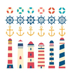 Nautical set Steering wheel lighthouse anchor and vector image vector image