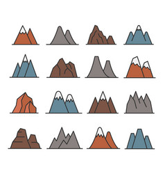 rocky mountains icon set vector image