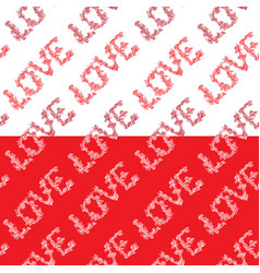 seamless pattern with word love in hand drawn vector image