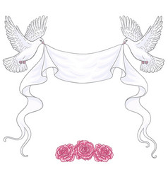 white flying doves ribbon and roses vector image vector image