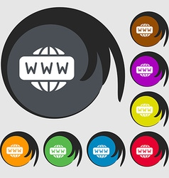 Www icon sign symbols on eight colored buttons vector