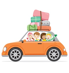 Boy And Girls Driving Car To Travel vector image