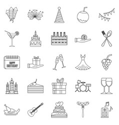 Date icons set outline style vector