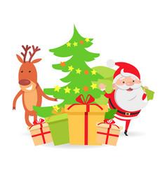 santa claus and deer near decorated x-mas tree vector image