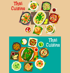 thai cuisine icon set with traditional asian food vector image vector image