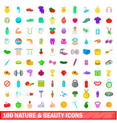 100 nature and beauty icons set cartoon style vector image vector image